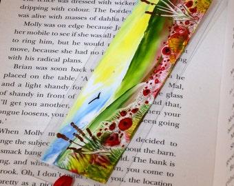 BEST SELLER Encaustic Wax Bookmark, Poppy Fields, Fantasy Miniature Art, Original