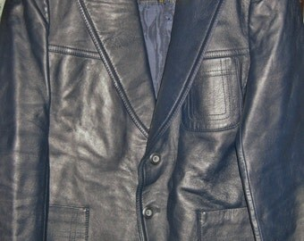 INDUYCO-LEATHER-JACKET-blazer-coat-Made-In-Spain-mens-Tag 44 (Fits like a size 42) -Navy-Blue