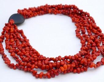 Dalia Necklace made of Tagua nut and Chocho seeds