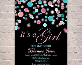 Blue Pink Baby Shower Invitation, It's A Girl Invite, Baby Girl Shower, Pink and Turquoise Glitters, Confetti Baby Sprinkle, Couples Shower