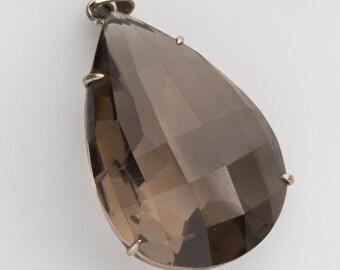 Vintage smokey quartz and sterling silver pendant. pdgm113(e)