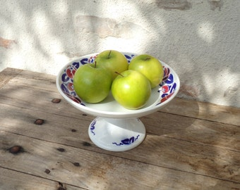 Wonderful Sarreguemines POMMERAIE compotier, fruit bowl, Art Deco footed bowl in ironstone.