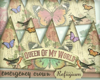 emergency crown queen of my world /Digital Collage Sheet / Instant Download