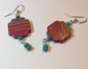 ABBIE - Turquoise and multicolored drop earrings.  Matching necklace available.
