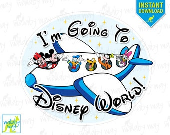 I'm Going to Disney World Mickey Airplane Printable Iron On Transfer or Use as Clip Art - DIY Disney Shirts, Instant Download, Disney Bound