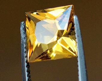 1.05 ct Precision cut Natural Brazilian Heliodor. Genuine Loose Gemstone. Princess cut. #0122