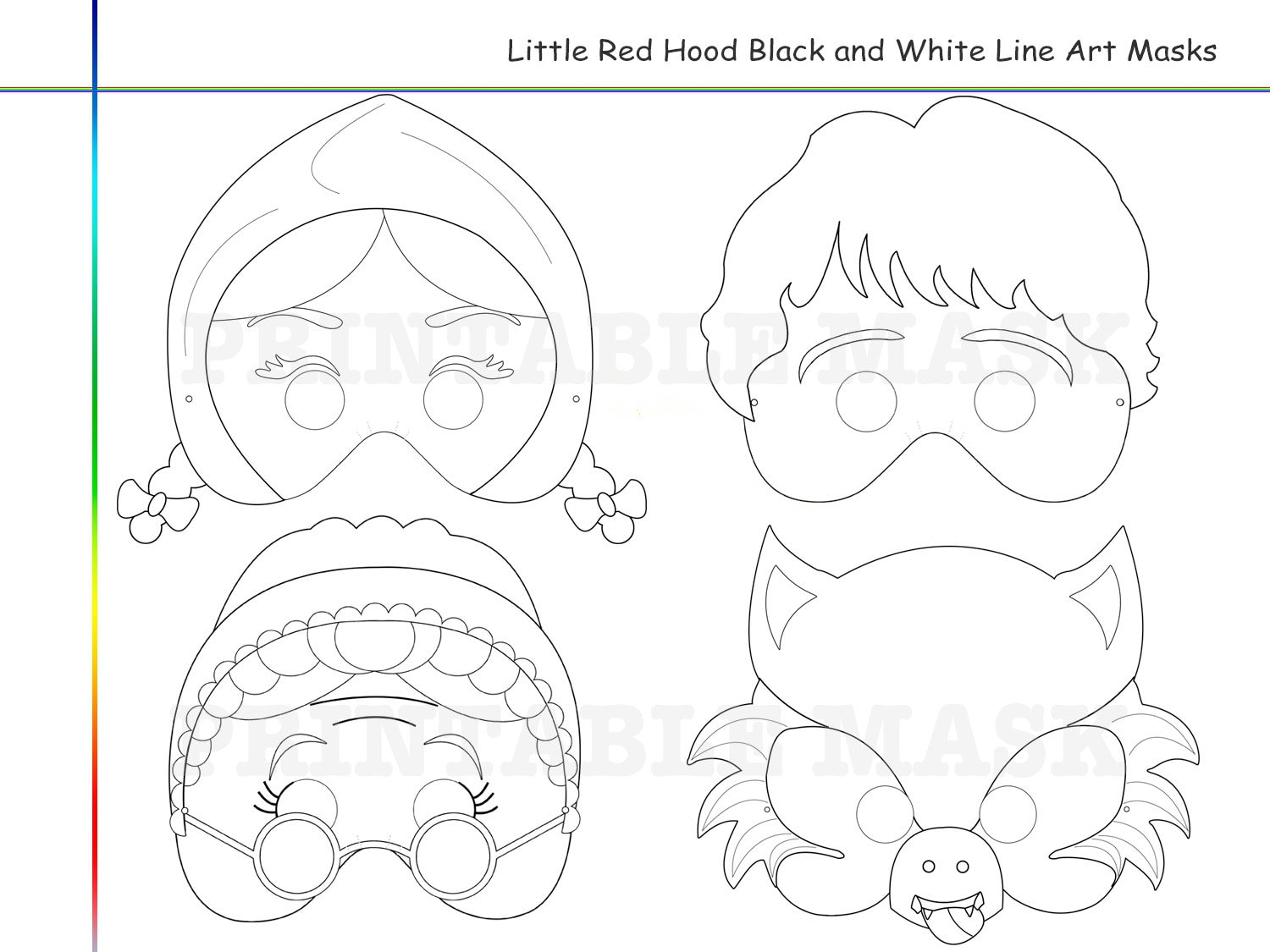 Coloring Pages Little Red Riding Hood Tale Printable Black and