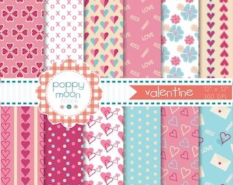 valentine digital paper pack