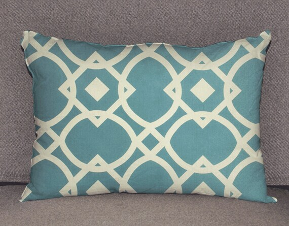 Pillow cover decorative cushions in Geo Blue by HotteCouture