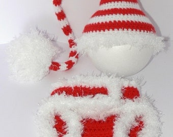 Newborn Baby Crocheted Red/White Stocking Hat and matching Diaper Cover.