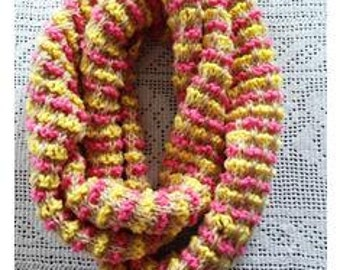 Woven Ribbons Scarf, Brown, Yellow, & Pink Cowl, Infinity Scarf, Women Knitted Long Scarf, Girl Neck Warmer