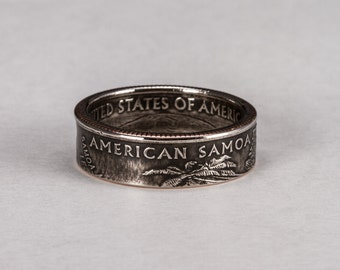 American Samoa Quarter Coin Ring
