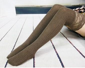 Brown Womens  Knit Socks Knee Socks Thigh High Socks Boot socks  Lace Socks No1109