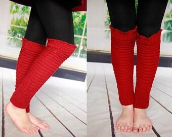 Red Boot Socks Knit Stockings  Knee Socks High Knit Socks Leg Warmers Handmade Stockings Long Socks  Best Gift For Her  No. 2009