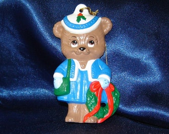 Teddy Bear Girl Ornament with a Wreath - Christmas Ornaments - Ceramic Ornaments - Bear Ornaments