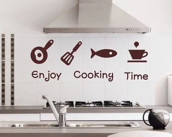 Enjoy Cooking Time Kitchen Wall Decals Kitchen Wall Decal,slice/fish/bowl  Decal Part 68
