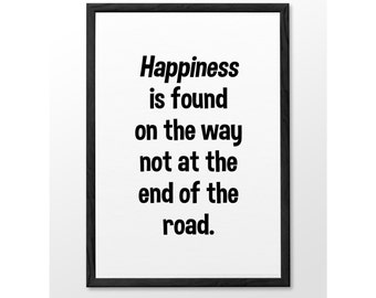 Typographic Happiness Wall Art Inspirational Quote Simple Print Typographic Print Wall decor Printable digital art