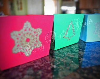 Holiday Treat Boxes, Red Treat Boxes, Blue Treat Boxes, Green Treat Boxes