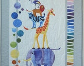 Safari Slumbers Cot Quilt or Play rug by Sue Duffy Designs featuring Zoo animal friends at 2Sew Textiles