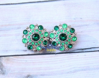 5 pc St Patricks button, St Patrick's rhinestone, 28mm rhinestone button, St Patricks flower center, St Patty's rhinestone