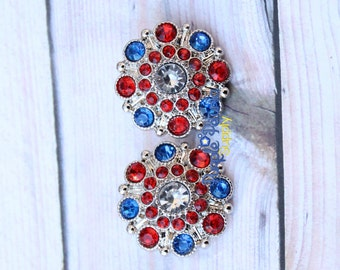 5 pc 4th of July button, 4th of July rhinestone, 28mm rhinestone button, patriotic button, red white blue rhinestone