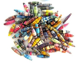 100 colorful magazine paper beads. ideal for making jewellery and other accessories according to your imagination
