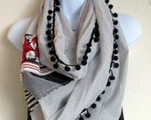 Grey Organic Cotton Loop/ Infinity scarf With Applique And Embroidery,