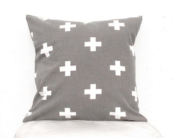 Plus sign pillow cover, Swiss cross pillow Case, Gray Cross Pillow Case , Big Cross