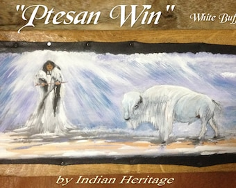 "Painting on leather ""Ptesan Win"" White Buffalo Woman"