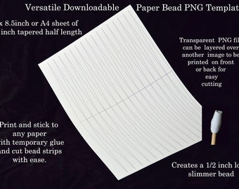Paper Bead Templates - half inch half sheet tapered beads. UK A4 & US Letter size. No measuring. No drawing lines.Bead strips the easy way!.