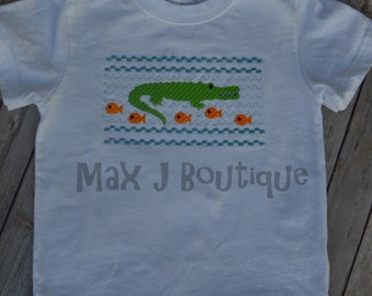 Faux Smocked Alligator Shirt -  Alligator Onesie - Smocked shirt