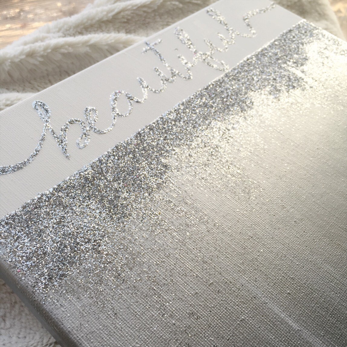 Beautiful Silver and Glitter Ombre Canvas by MintandMimosas