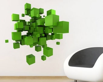3D Effect Space Cubes Decal - Abstract Decoration - Decorating Vinyl Sticker - Home and Office Decor