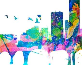Milwaukee Skyline, Watercolor, Milwaukee map, Milwaukee art, Milwaukee print, Milwaukee wall art, poster, Gift, Cityscape - SKU:WTRMILW