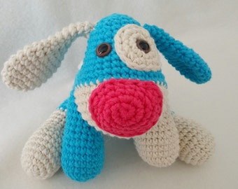 Hand crocheted amigurumi toy dog.Hand made with soft cotton acrylic mix.