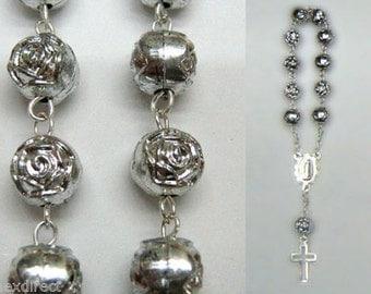 50 pieces Decenario Mini Small Rosary Baptism Favor Recuerdito communion Favor Color SILVER - 50 PIECES