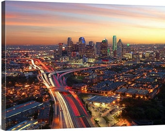 Large Dallas Skyline Canvas - Color sunset texas gallery wrap home decor wall hanging cityscape fine art skyscrapers city modern art