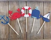 Nautical Cupcake Toppers | Nautical Birthday | Nautical Baby Shower | Nautical Party Decor | Sailboat Cupcake Toppers | Nautical Party