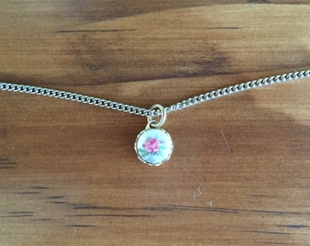 Girl's necklace, pink flower pendant, vintage jewelry