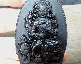 Natural Obsidian Kuan Yin pendant