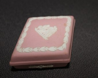 HUGE SALE Wedgwood Jasper Ware, Piece of Wedgwood,  Powder Pink, Trinket Box, Memories, Ring Holder, Special Container, Triangle Shape,