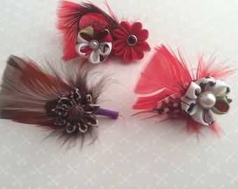 Fancy feather lapel pin