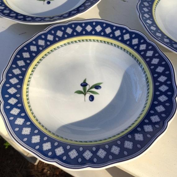 Mediterranean Style Dinnerware: 3 Piece Set Wedgwood Mediterranean Rimmed Soup Bowl The