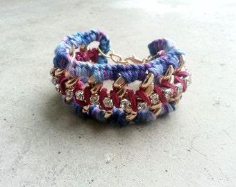 Boho Cuff Bracelet, Hippie Bracelet, Gold Chain Bracelet, Ibiza Bracelet, Coachella Clothing, Woven Bracelet, Festival Clothing, Modern Boho