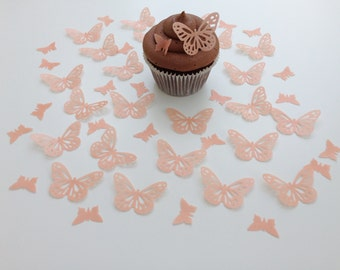 48 Edible Peach Butterfly Wafer Cupcake Toppers Precut