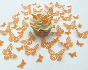 48 Edible Orange Butterfly Wafer Cupcake Toppers Precut