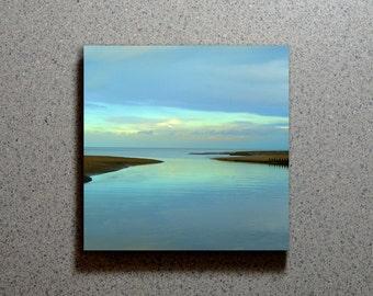 Peaceful Blue Coast Ceramic Coaster Tile Wall Drink, Dusk Dawn Blue Ocean Water Clouds Scenic Landscape Shoreline Nature Nautical Marsh