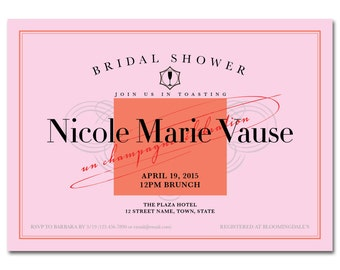 Bridal Shower 5x7 Invitation - Champagne Brunch - Printable and Personalized