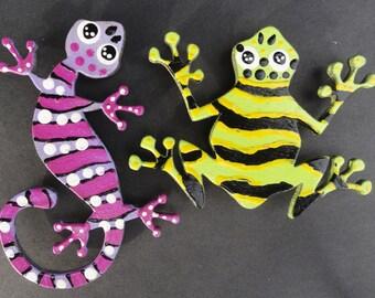Pair of handmade refridgerator magnets frog and lizard