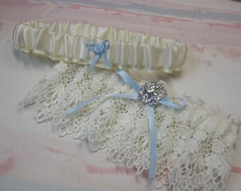 """venice lace garter set with """"something blue"""""""